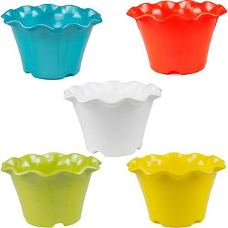 Takson Sales Multicolor Plastic Plant Pots Set of 5 Flower Design (4 Inch) Assorted Colors