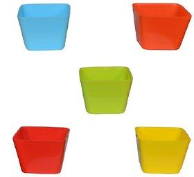 Takson Sales Multicolor Plastic Plant Pots Set of 5 Square Design (4 Inch) Assorted Colors