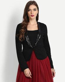 Code Yellow Women's Sequin Black Partywear Blazer