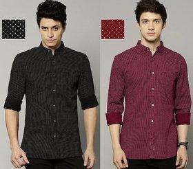 29K Men Black Printed Slim Fit Cotton Casual Shirt (Pack Of 2)