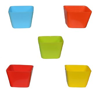 Takson Sales Multicolor Plastic Plant Pots Set of 5 Square Design (4 Inch) Assorted Colors