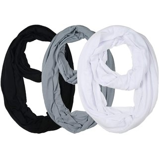 Lili Soft Lightweight Solid Colour Infinity Around Loop Scarf Pack Of 3