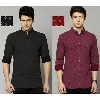29K Men's Printed Slim Fit Cotton Casual Shirt Pack Of 2