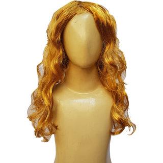 Kaku Fancy Dresses  Ladies Girl Straight Styler Golden Color Hair Wig For Kids Festival/Annual function/Theme Party