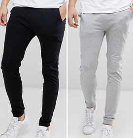 Trendyz Black and Grey Poly Cotton Track Pants For Men's Pack of 2