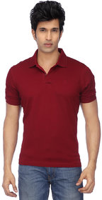 Funky Guys Men's Maroon Plain Cotton Blend Polo Collar T-Shirt