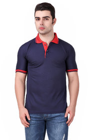 Funky Guys Navyblue Differentcollor Slimfit Polo Neck Tshirt