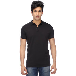 Funky Guys Men's Black Plain Cotton Blend Polo Collar T-Shirt