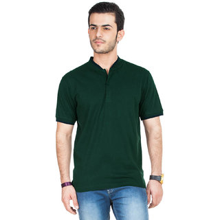 Funky Guys Bottlegreen Polo Neck Slim Fit Tshirt