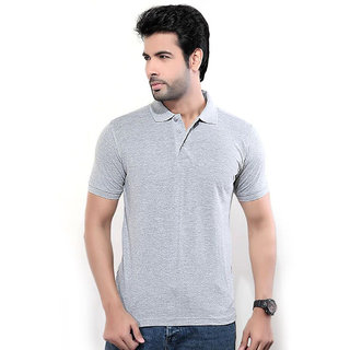 Funky Guys Grey Plain Cotton Blend Polo Collar T-Shirt For Men