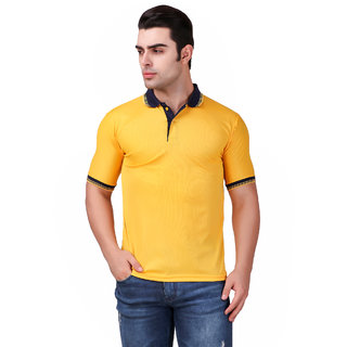 Funky Guys Yellow Differentcollor Slimfit Polo Neck Tshirt