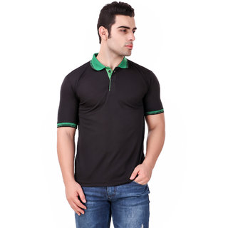 Funky Guys Black Differentcollor Slimfit Polo Neck Tshirt