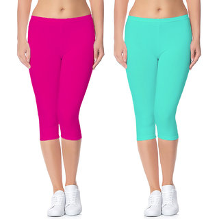 Lili Active Running Fit Workout Bio Wash 220 GSM Calf Length Capri Pack of 2
