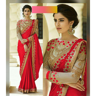 Bhavna creation Red Silk Embroidered Wedding Saree With Blouse