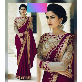 Bhavna Creation Purple Embroidered Silk Saree With Blouse