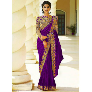 Bhavna Creation Purple Embroidered Silk Wedding Saree With Blouse