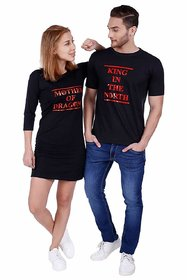 We2 Cotton Mother of Dragon King in The North Printed Black Color Couple T-Shirts
