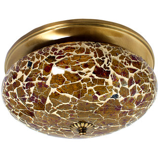 Fos Lighting Fiery Mosaic Glass and Brass Flush Mount Ceiling Lamp