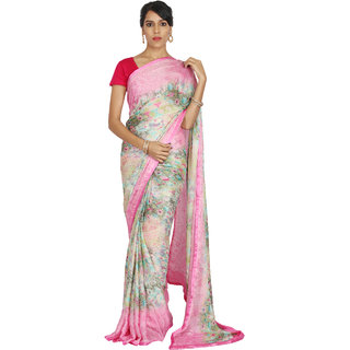 9df78aef7e5b4 Buy Hastakala Multicolor Satin Printed Saree With Blouse Online - Get 15%  Off