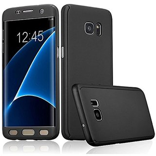 iPacky 360 Full protection front & back cover case with screen Tempered Glass for Samsung Galaxy S7  ( BLACK )