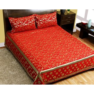 SHAKRIN Premium 500 TC Chenille Double Bedsheet with 2 Pillow Covers - Classic,  Design May Vary