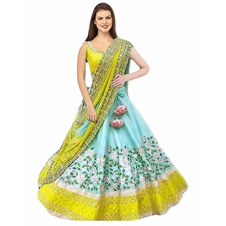 Florence Turquoise Bangalore Silk Embroidered Lehenga Choli