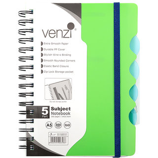 VIVA - A5-5 Subject Book - P. P. Wiro - A5 (Green) 300 Pages with Zip Lock Pocket School and Office Stationary Notebooks
