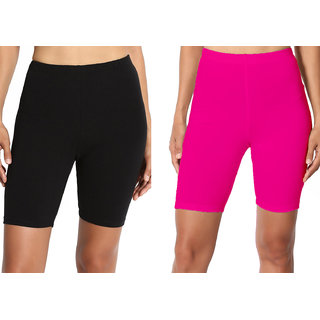 Lili Bio Wash 220 GSM Knee Length Fitness Workout Running Yoga Shorts Pack of 2