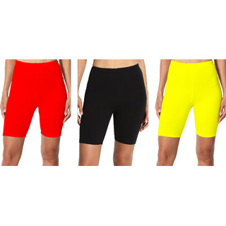 Lili Bio Wash 220 GSM Knee Length Fitness Workout Running Yoga Shorts Pack of 3