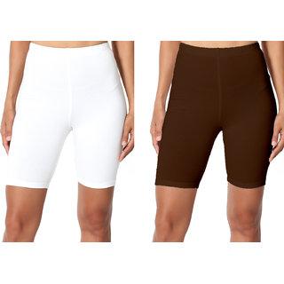 Omikka Bio Wash 220 GSM Knee Length Fitness Workout Running Yoga Shorts Pack of 2