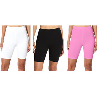 Omikka Bio Wash 220 GSM Knee Length Fitness Workout Running Yoga Shorts Pack of 3