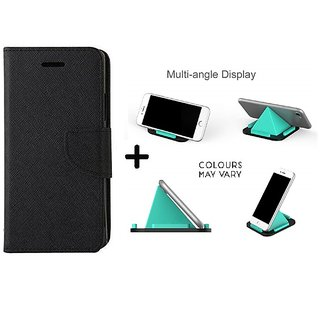 Wallet Flip Cover For Sony Xperia M4 ( BLACK ) With Multi-Angle Pyramids Shape Phone Holder