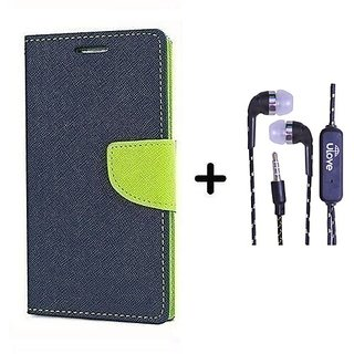 Wallet Flip Cover For Samsung Galaxy Note 3 Neo SM-N7505 ( BLUE ) With Tarang Earphone