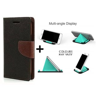 Wallet Flip Cover For HTC Desire 816  ( BROWN ) With Multi-Angle Pyramids Shape Phone Holder