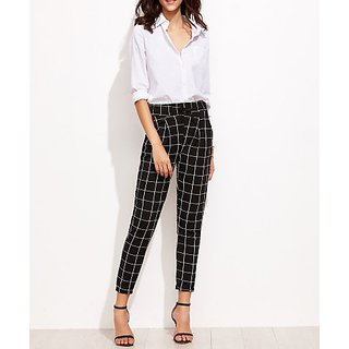 Code Yellow Women's Imported Drawstring Elastic Waist Black Grid Checks Pants / Casual Wear / Yoga Wear