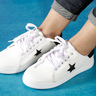 Vendoz Women Stylish White Casual Shoes