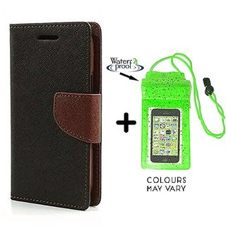 Wallet Flip Cover For Microsoft Lumia 540 ( BROWN ) With Underwater Pouch Phone Case