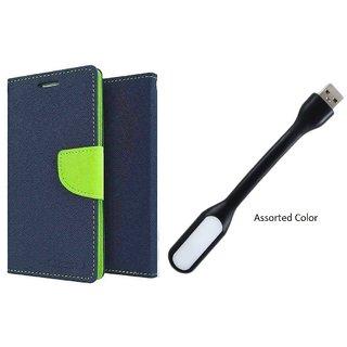 Wallet Flip Cover For Motorola Moto G5S ( BLUE ) With Usb Light
