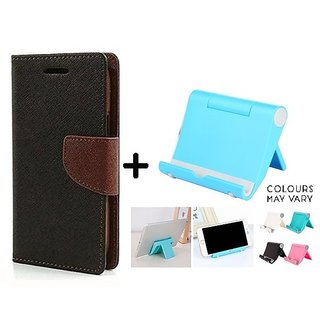 Wallet Flip Cover For Micromax Canvas Gold A300  ( BROWN ) With Universal Mobile Phone Stand