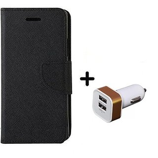 Wallet Flip Cover For Micromax Canvas HD A116 ( BLACK ) With 2 Port Car Adapter(CR350A)