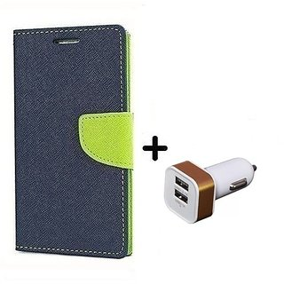 Wallet Flip Cover For Lenovo A7000 ( BLUE ) With 2 Port Car Adapter(CR350A)