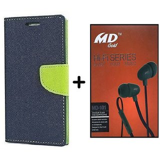 Flip Cover For Micromax Bolt D321  ( BLUE ) With Earphone(BRN50B)