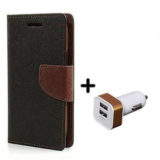 Flip Cover For OnePlus 6 ( BROWN ) With 2 Port Car Adapter(CR350A)