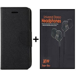 Flip Cover For vivo V9 ( BLACK ) With Earphone(BLK60A)