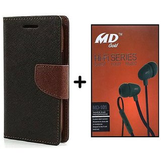 Flip Cover For Micromax Canvas Spark Q380  ( BROWN ) With Earphone(BRN50B)