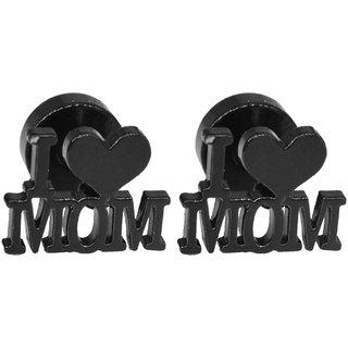Sullery I Love Mom   Black  Stainless Steel  Stud Earing