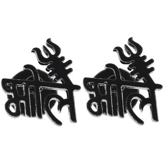 Sullery Religious Jewelry Lord Shiv Bhole  TrishulPiercing Jewelry   Black  Stainless Steel  Stud Earing