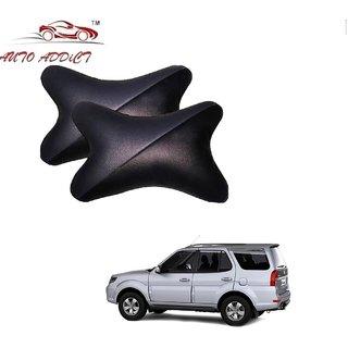 Auto Addict Car Neck Rest Pillow Cushion Grey Black Set of 2 Pcs For Tata Safari::Grand Dicor