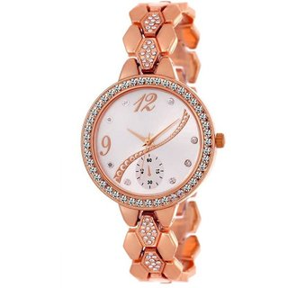 HRV Rose gold crystal studded chronograph bracelet strap beautiful women Watch