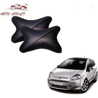 Auto Addict Car Neck Rest Pillow Cushion Grey Black Set of 2 Pcs For Fiat Punto Evo